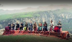 Kurdish Iranian group The Kamkars at their concert in the Kurdish mountains