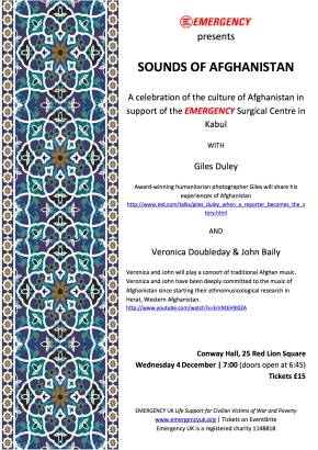 SOUNDS OF AFGHANISTAN – Concert supporting the Kabul EMERGENCY Surgical Centre