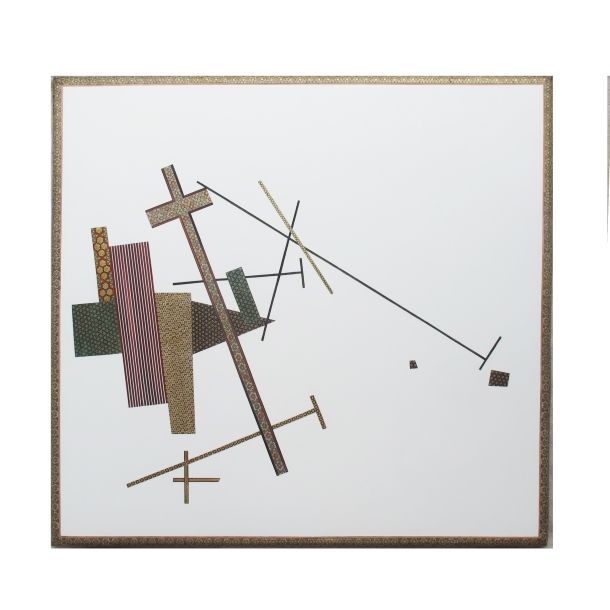 Farhad Ahrarnia Leaning into Ritual, after Malevich (2009) mixed media installation with inlaid khatam, industrial paint on wood panel