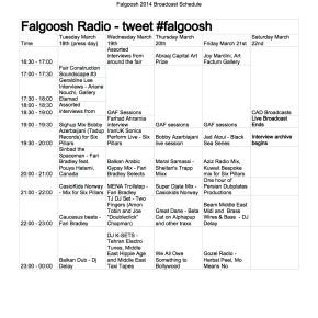 #ArtDubai14 Broadcast Schedule for #FalgooshRadio