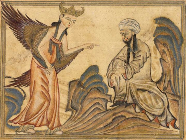 historical-artwork-mohammed-cartoon-of-angel-gabriels-firrst-revelation-from-1307-ad